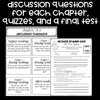"""A novel companion with reading skills for each chapter, quizzes for every two chapters, a final test, and many final project choices for the novel """"Because of Winn-Dixie"""" by Kate DiCamillo."""